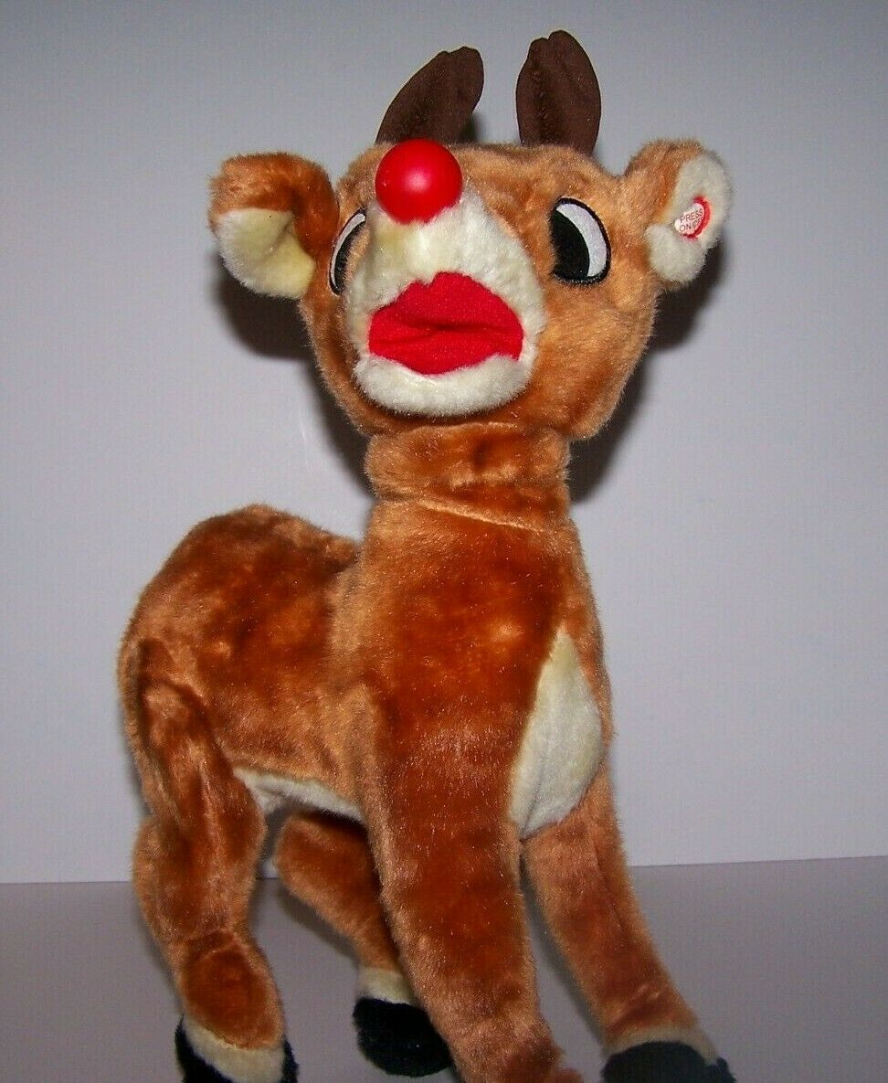15  Vintage Gemmy Rudolph The rot Nosed Reindeer Talking Singing Animated Plush