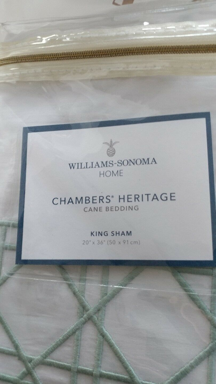2 Williams Sonoma Cane embroidered King  shams sea  New