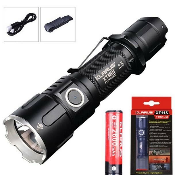 Klarus XT11S Cree XP-L HI-V3 LED 1100 LM 18650 Tactical Rechargeable Flashlight
