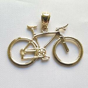 14k yellow gold bicycle pendant charm made in usa ebay image is loading 14k yellow gold bicycle pendant charm made in aloadofball Gallery