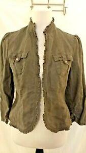 INC International Concepts Gray Linen Ruffle Women's M jacket Blazer Casual Chic