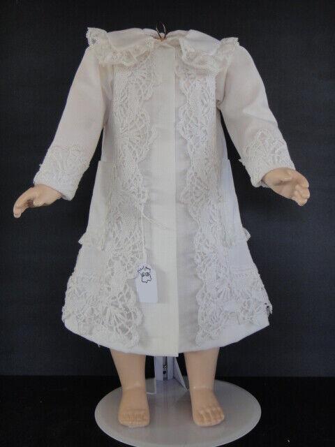 Kleid Mantel aus Baumwolle Weiß für Puppe Antike 55 cm - Puppe Kleid -