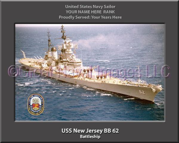 USS New Jersey BB 62 Personalized Canvas Ship Photo Print Navy Veteran Gift