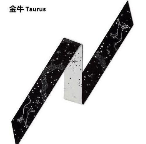 Women/'s Silk Head Scarf 12 Constellations Tarot série Imprimé Petite Cravate Bind Wrap