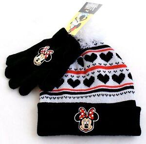 a1b074ad4ae28 Disney Minnie Mouse Knit Cuff Pom Beanie   Stretch Gloves Youth ...