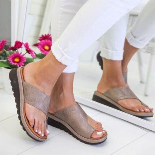 Bunion Corrector PU LEATHER Womens Comfy Platform Sandal Ladies Shoes