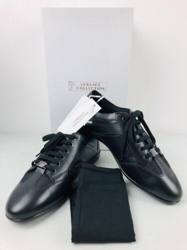 VERSACE COLLECTION 420 Homme en Cuir Noir Baskets Chaussures UK 842 euros9 US