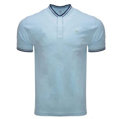Homme Lambretta Baseball Col Target Logo Polo en coton SS 5165-Bleu Ciel