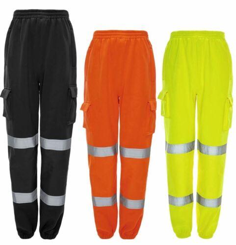 HI VIS VIZ Jogging Pantalon Pantalon De Survêtement Sweat Pantalon Workwear Réfléchissant Pantalon