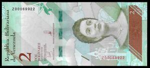 Venezuela-2-Bolivares-Soberano-2018-Replacement-Note-Series-Z8-5-Digit-UNC