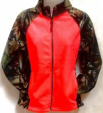 Trail Crest Women's Fleece Full Zip Hunting Jacket Camo Neon Coral Size L Large