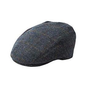 Failsworth Stornoway Flat Cap in Grey Blue Check Harris Tweed 6010