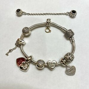 Authentic Pandora Bracelet With Pandora Charms 7 Ebay