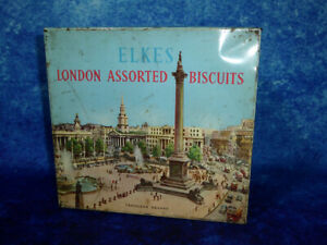 Vintage-ELKES-LONDON-ASSORTED-BISCUITS-TIN-Trafalgar-Square-1950s-Pre-barcode