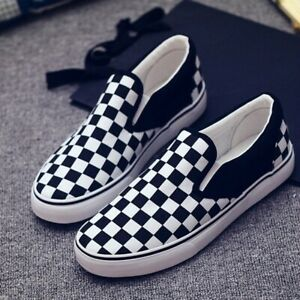 Men-Women-Classic-Slip-On-Canvas-Checkerboard-Black-White-Skateboarding-Shoes