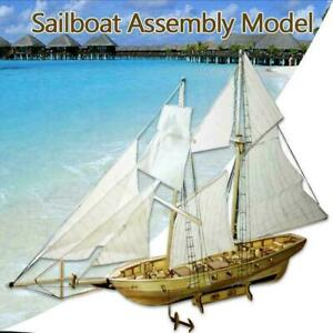 1-100-Scale-Wooden-Sailing-Boat-Sailboat-Model-Kits-Ships-P2G9-Wooden-J1F5