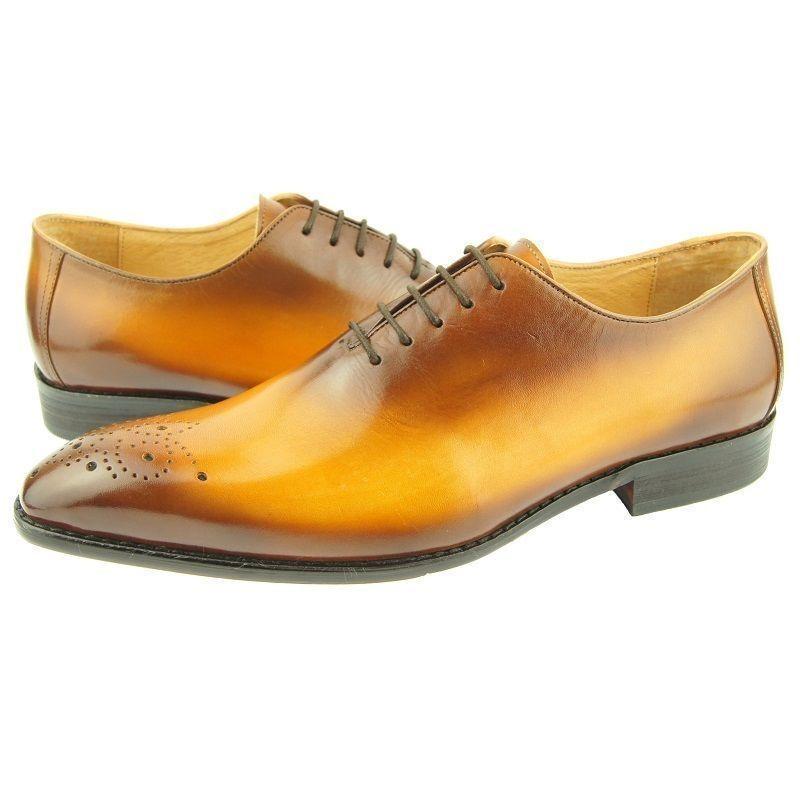 Uomini Nuovo Fatto a Oxford Mano in Pelle Marrone Oxford a Scarpe Eleganti Formali 204113