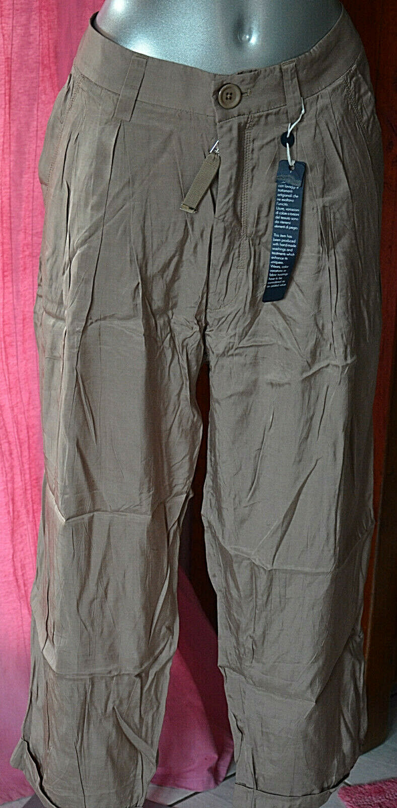 Pantalon à pinces satiné taupe HIGH USE ex girbaud Größe 44 fr 42d 48i W34 NEUF