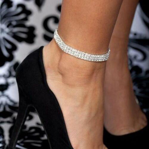 Tobilleras elásticas para mujer Boho Bracelet de pierna de cristal Plata De Lujo