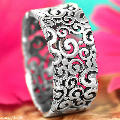 Sterling Silver Ring 925 Solid Band Spirals Handmade Selectable Size Tube Chic