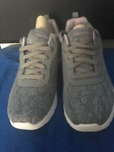 34c6aaedf082 Image is loading Skechers-Ladies-Lace-Effect-Lace-Up-Trainers-Grey-