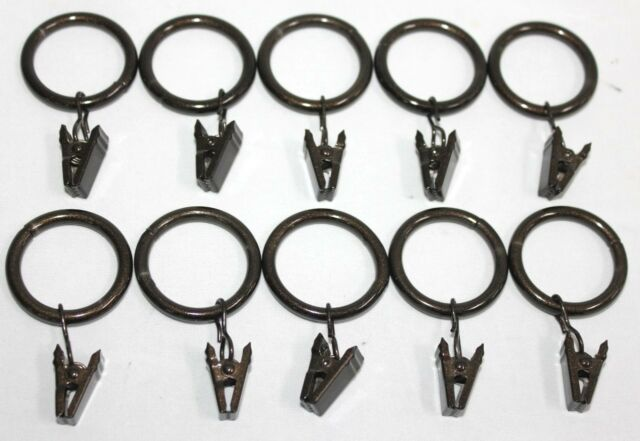 Decorative 10 PC Window Curtain Drapery Metal Rings with Clip& Eyelets