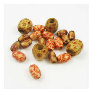 TAN-DESIGNED-WOODEN-BEADS-3-DESIGNS-ARTS-CRAFTS-BEADING-JEWELLERY-MAKING