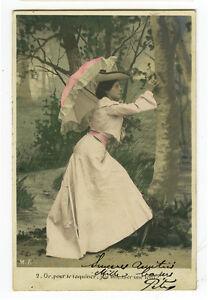 c 1904 Vintage Well Dressed LADY w/ PARASOL French fashion photo postcard