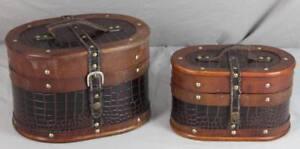 2-tlg-Box-Koffer-Set-ineinander-stapelbar-Holz-Leder-28x20-cm-1-2-Kg