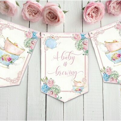 Shabby Chic A Baby is Brewing Sign Tea Party Girl Baby Shower Decoration
