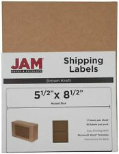 Jam Paper Half Page Brown Kraft 5 12 X 8 12 Shipping Labels Stickers 50pk