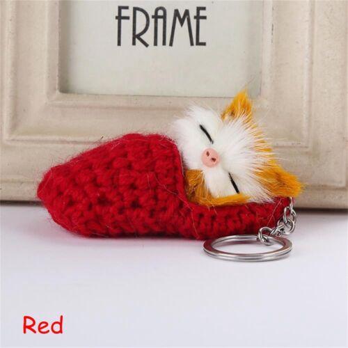 Lovely Fluffy Plush Jewelry Key Buckle Faux Rabbit Fur Keychain Cat Key Ring