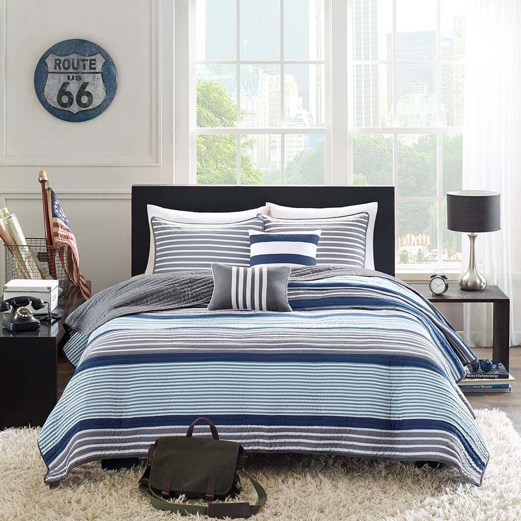BEAUTIFUL MODERN SPORT Blau NAVY grau Weiß STRIPE SOFT QUILT SET & PILLOWS NEW