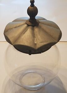 Antique-Glass-Globe-for-Lamp-w-Metal-Fitter-Lid-Finial-Hardware-Lighting-Fixture