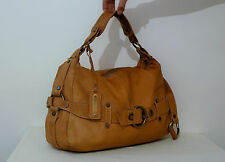 Russell & Bromley tan leather hobo shoulder bag brasstone studs