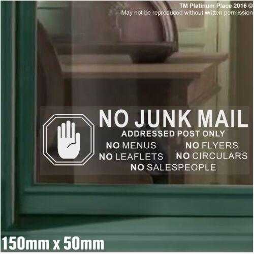 No Junk Mail,Leaflets,Menus,Flyers,Circulars,Cold,Salesman-Window Sticker Sign