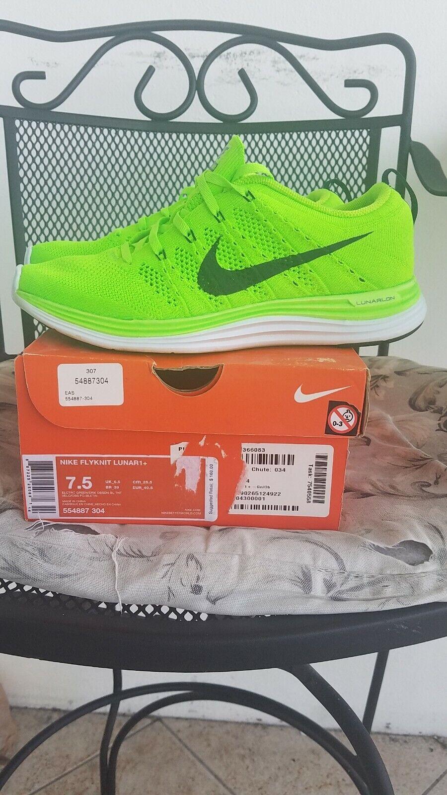 Nike Flyknit Lunar 1 size 7.5 neon green