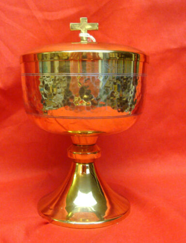 "Ciborium 24kt Gold Plated Sterling Silver 7"" Tall 4 12"" Wide Hammered Sides"