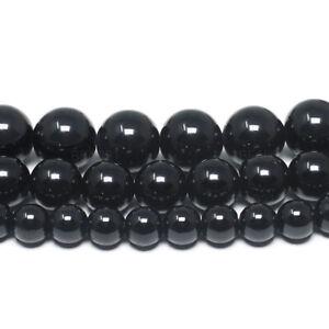 Black-Tourmaline-Gemstone-Beads-Round-Grade-A-6mm-8mm-10mm-15-5-034-Full-Strand