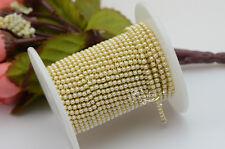 SS6 Pearls Close Chain Trim Golden New Design 10 Meter