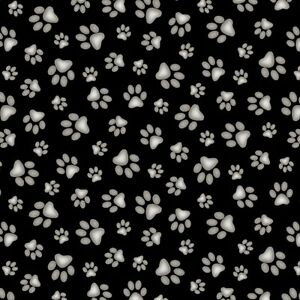 Elizabeth-039-s-Studio-Adorable-Pets-Paws-on-Black-100-cotton-Fabric-by-the-yard