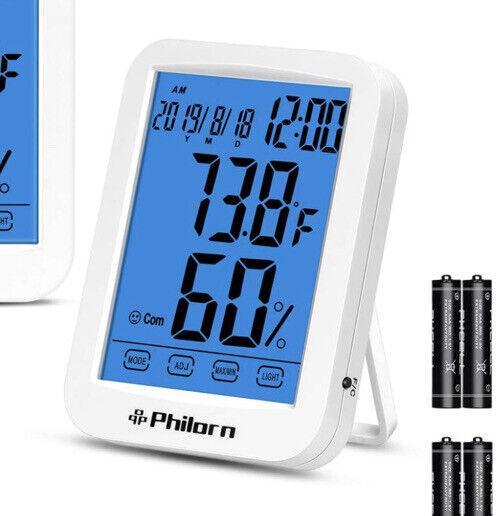 """Digital Wireless Hygrometer Thermometer Humidity Monitor 4.4"""" LCD Touch Screen"""