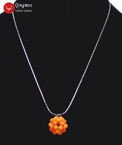 """15-18 mm Orange CORAL HANDWORK tissage ballon rond collier pendentif femmes 17/"""""""