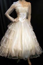 S Embroidered Tulle Satin Vtg 50s Strapless Sylvia Ann Wedding Gown Dress Bolero
