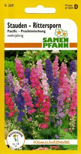 Stauden-Rittersporn Pacific Prachtmischung in leuchtenden Farben Blumen Samen