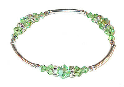 Bracelet Sterling Silver with Peridot Green Swarovski Crystals b9ePqXY0WP