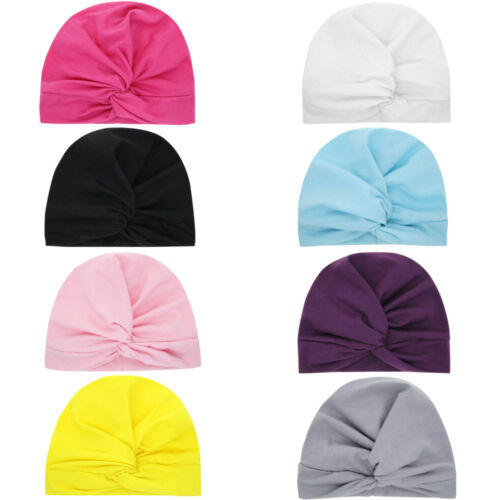 Newborn Toddler Kid Baby Boys Girls Solid Knot Turban Beanie Hat Headwear Cap L