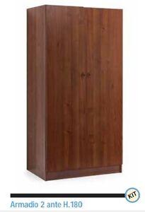 Armadio in legno kit colore noce arte povera ante battenti 90x60x180 ...