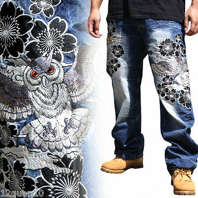 Mens Jeans Japanese Denim Straight Trousers Totem Pattern Embroidery Owl W30-W42