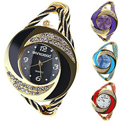 Womens Fashion Round Crystal Bangle Cuff Analog Quartz Bracelet Wrist Watch B77K